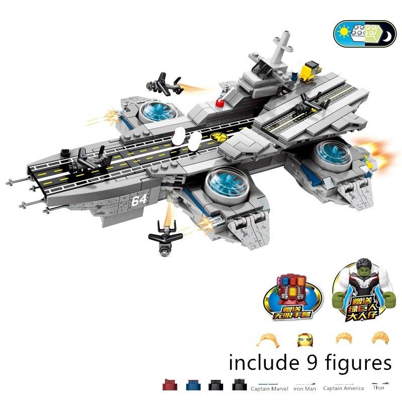 2020 SuperHero Ideas Base Helicarrier Aerial Carrier SHIELD Aircraft Super Heros Marvel Building Blocks Sets Bricks Kits Movie 2