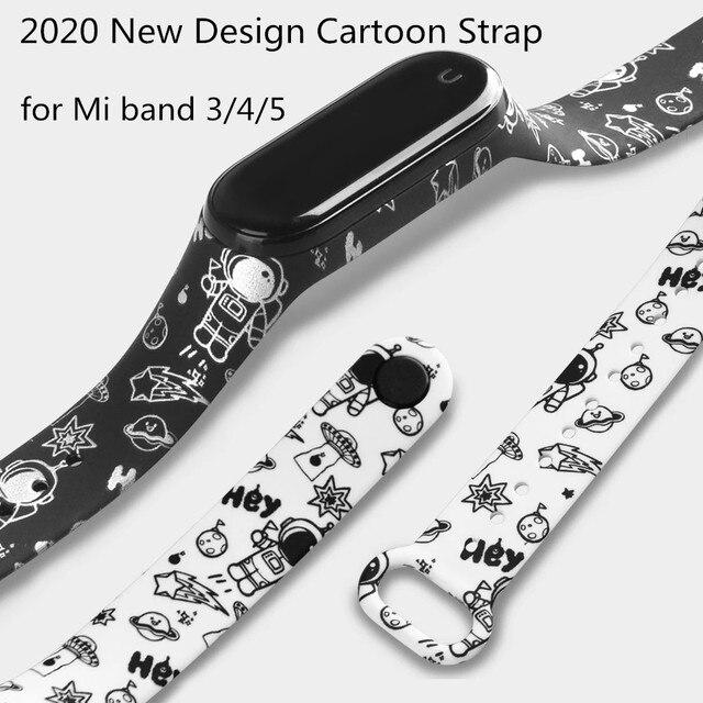 cartoon strap of Xiaomi Mi Band 5 4 6 3 Strap Fashion Soft Silicone strap band 4 5 3 Bracelet Wristband For xiomi band 5 6 strap 1