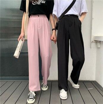 цена на elastic waist pants women formal ladies straight trousers women pink black plus size high waist pants streetwear korean pant