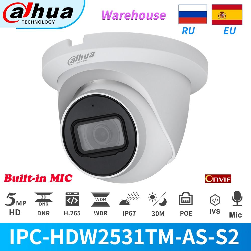 Dahua Original 5MP IR caméra réseau globe oculaire à focale fixe IPC-HDW2531TM-AS POE intégré micro fente pour carte SD IVS Onvif dôme de Rotation