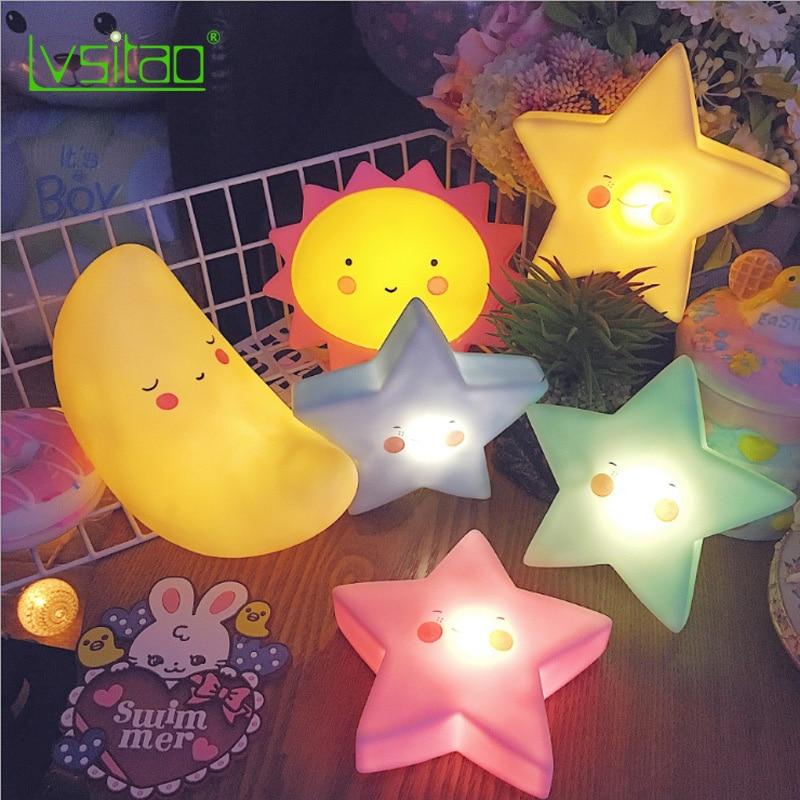 Children Luminous Toy Bedroom Wake-Up Lamp LED Lamp Ins Explosion Models Sun Moon Star Unicorn Kids Cartoon Night Light