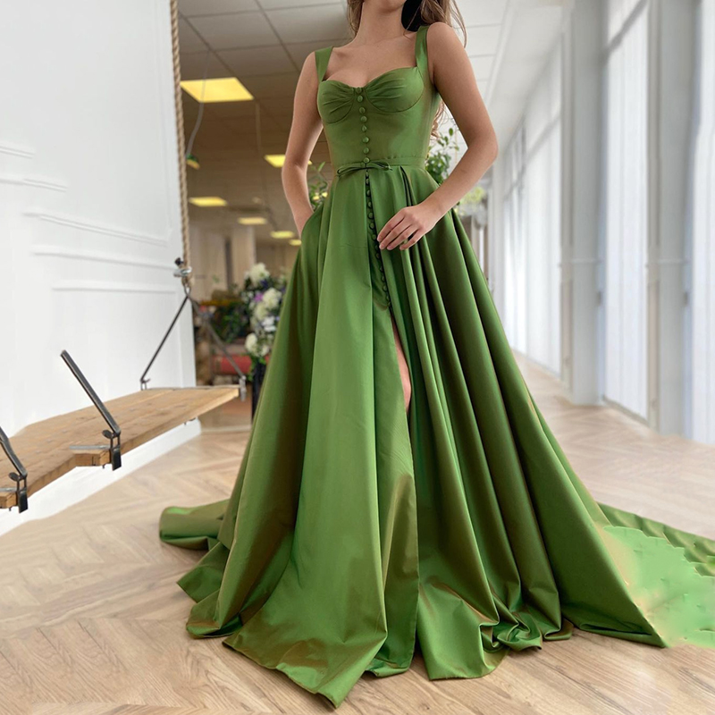 UZN New Arrival Green Satin Bustier A-Line Prom Dress Elegant Straps Evening Dress Plus Size Split Party Dress 1