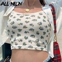 ALLNeon słodka e-girl Stpaghetti Straped kwiatowe letnie krótkie bluzki koronka w stylu Vintage Backless Apricot topy Y2K moda kwiaty top na ramiączkach