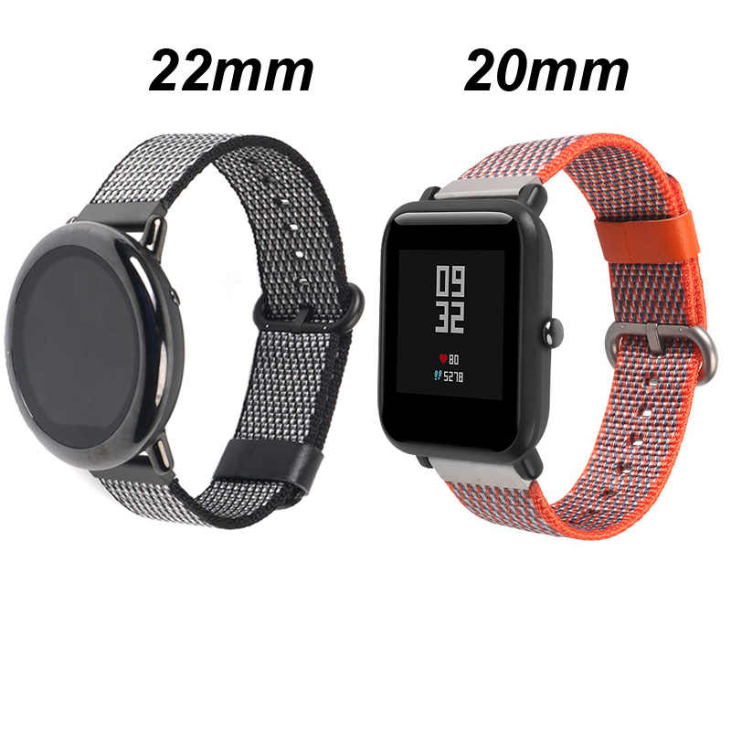 20/22mm עבור Xiaomi Huami Amazfit GTS ביפ GTR 47mm 42mm קצב סטרטוס 1/2 /3/2s צמיד רצועת השעון ניילון רצועת שעון