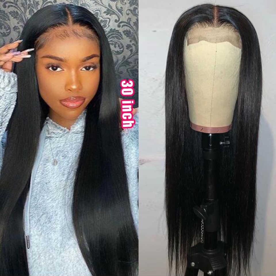 Peluca Rebeca de 30 pulgadas, peluca transparente con cierre de encaje, pelucas de cabello humano rectas para mujeres, peluca de cierre 4x4, peluca larga y recta, cabello Remy