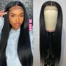 Rebecca 30 polegada peruca fechamento do laço transparente peruca em linha reta perucas de cabelo humano para as mulheres 4x4 encerramento peruca longa reta remy cabelo