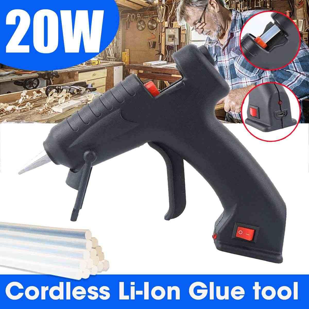 20W Hot Melt กาวปืน 7 มม.* 200 มม.กาวกาว DIY Thermo MINI กาวไร้สาย Li-Ion กาวปืนซ่อมเครื่องมือความร้อน 110V-240V