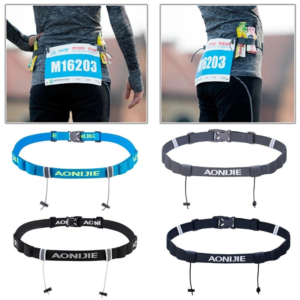 Unisex marathon race number belt running waist pack cloth bib holder U.hc