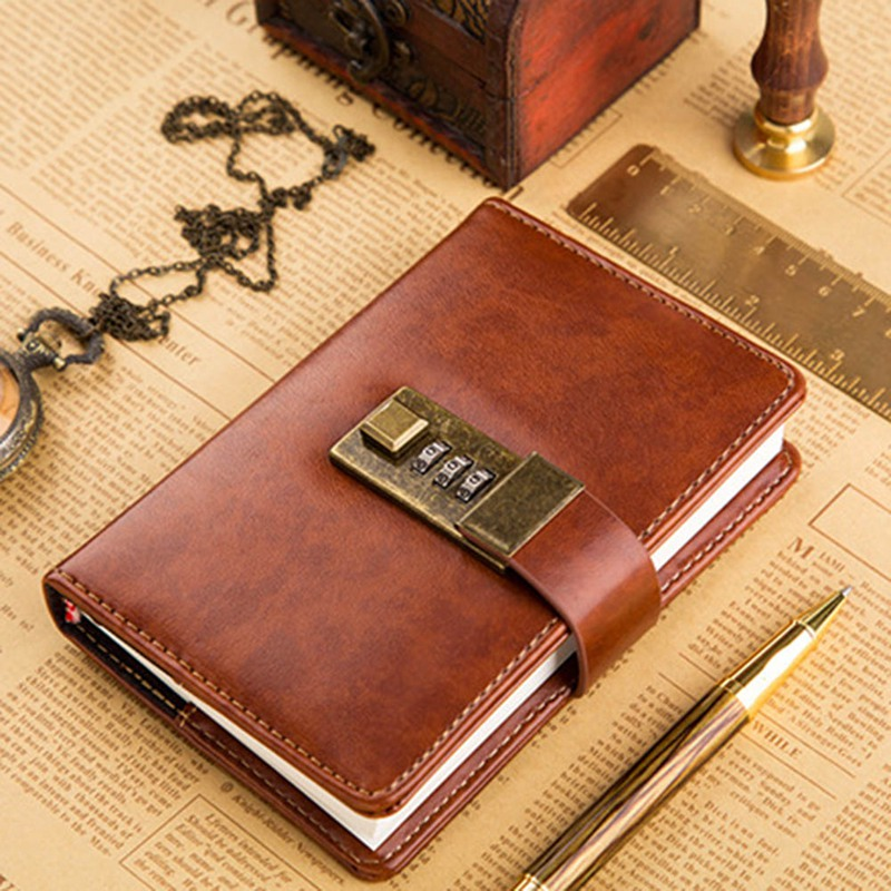 Creative A7 Journal Multi-function Diary Note Book With Password Code Lock Creative Hand Account Notebook
