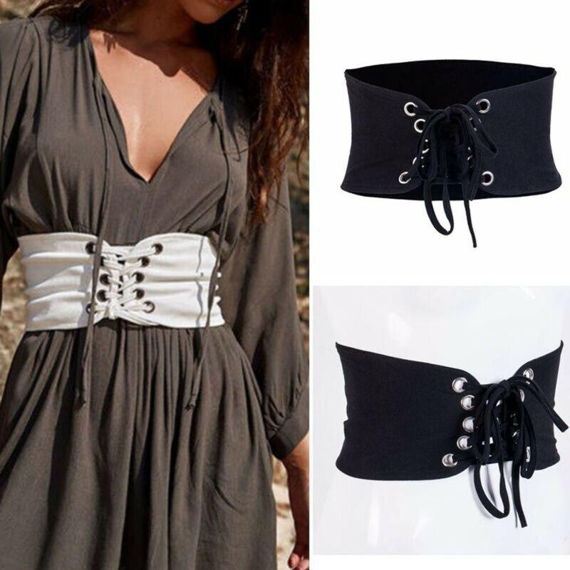 Women Waist Cincher Adustable Wide Band Elastic Tied Waspie Corset Leather Belt Cummerbunds High Quality