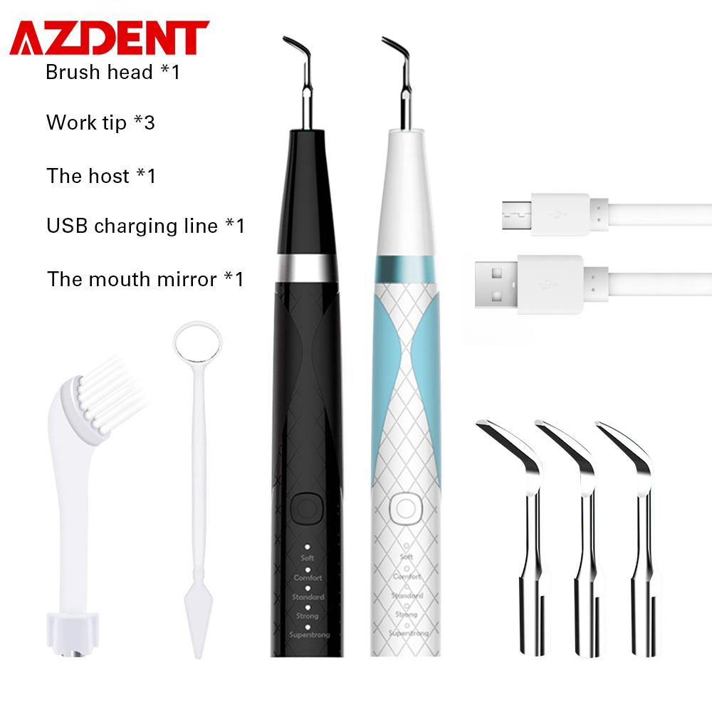AZDENT USB 4 Modes Dental Scaler Calculus Remover Electric Ultrasonic Toothbrush Dentist Teeth Whitening Cleaner Stain Tartar