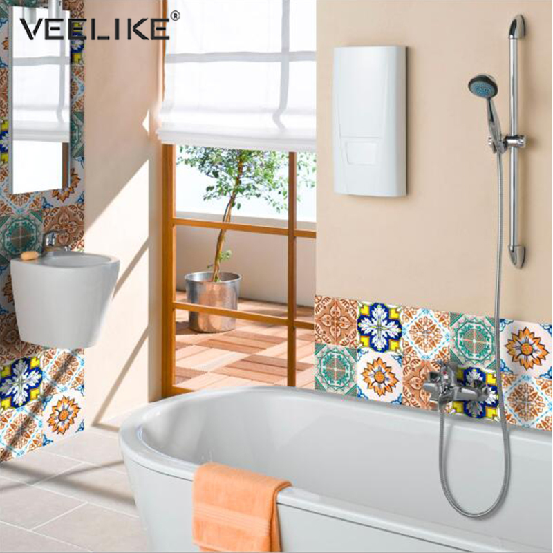 Creative Self Adhesive PVC Ceramic Tile Decals Waterproof Wallpapers Art Diagonal Floor Stickers DIY House Decoration Murals