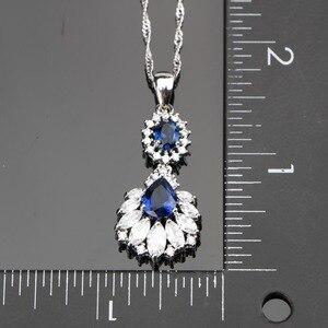 Image 3 - Conjunto de joyas de plata 925 para boda, conjunto de pendientes/colgante/Collar/anillos con piedras azules, circonita blanca, caja de regalo gratis