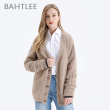 BAHTLEE Winter Women Knitted Short Cardigans With Pocket Sweater Wool Angora Coat Jumper Long Sleeves V-Neck