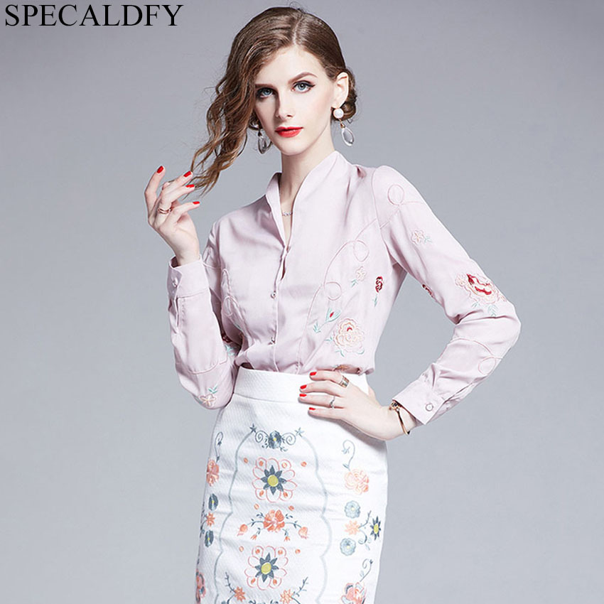 2020 Autumn Long Sleeve Blouse Elegant Office Shirt For Ladies OL Embroidery Blouses Women Tops Blusas Mujer