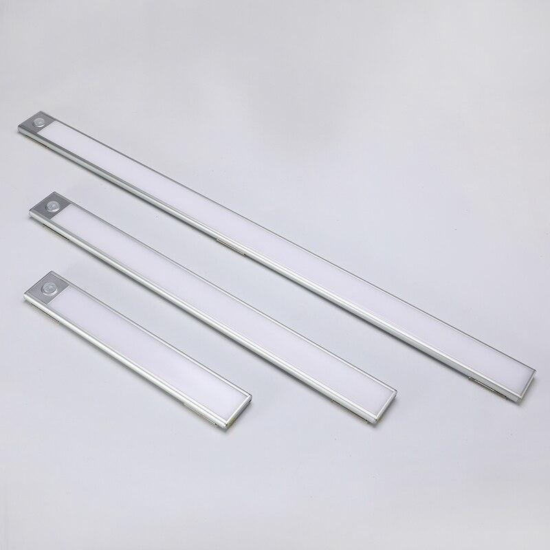 23/40/60CM PIR détecteur de mouvement LED sous la lumière de l'armoire USB Rechargeable garde-robe placard veilleuse pour lampes murales d'intérieur de cuisine