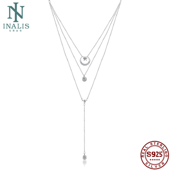 INALIS Real 925 Sterling Silver Multilayers Necklace For Women Round Pendant Necklaces Sweater Chain CZ Gift Girl Fine Jewelry real 925 sterling silver alphabet o zircon pendant necklaces for women cz geometric wedding fine jewelry