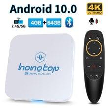 Hongtop android caixa de tv android 10 2.4g & 5.8g wifi 4gb 64 4k 3d bluetooth tv receptor media player hdr + alta qualidade conjunto caixa superior