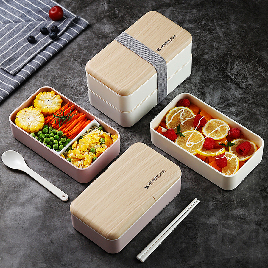 Double Layer <font><b>Lunch</b></font> <font><b>Box</b></font> Wooden Case Salad Sushi Bento <font><b>Box</b></font> Portable Microwave Food Container <font><b>Box</b></font> for Kids Workers with Tableware image