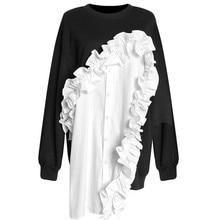 LANMREM модная новинка Лоскутная Толстовка с круглым вырезом и оборками Повседневная Горячая Распродажа модная одежда для вечеринок пуловеры BF244
