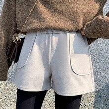 Woolen-Shorts Boots Wide-Leg Black High-Waist Womens Casual Winter Autumn Loose A-Line