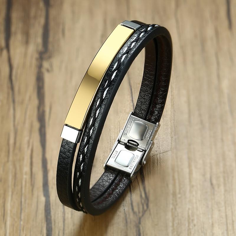 Bracelet en acier inoxydable pour hommes et femmes d'affaires, breloque avec nom personnalisé, bracelet cubain à longueur ajustable, cadeau pour garçon et femme 3