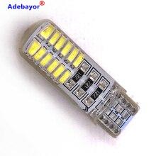 100pcs T10 W5W ซิลิโคน 24 SMD 3014 ไฟ LED อ่านหนังสือ Light 192 168 501 24SMD 24 LED อัตโนมัติ WEDGE หลอดไฟ 12V 100X