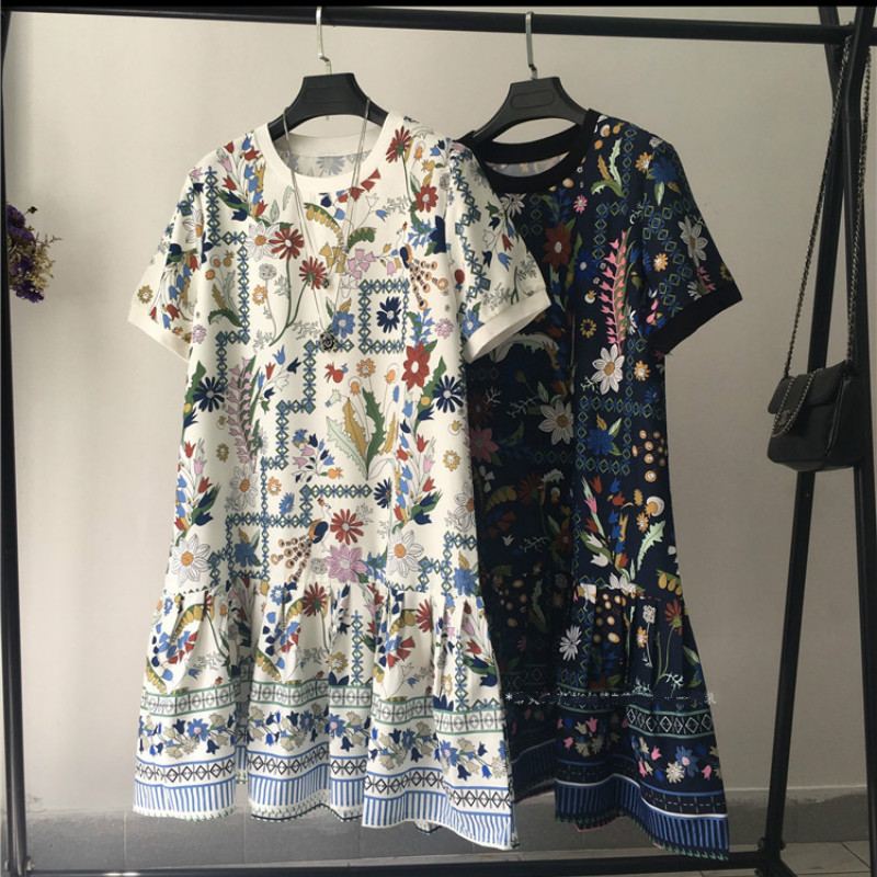 2020 summer European Vintage Women Printed Dresses Short Sleeve Lady Floral Print Dress Female Retro Loose Print Dress