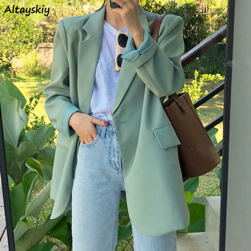 Blazers Womens Solid Single Breasted All-match Loose Casual Lady Jackets Korean Style Chic Harajuku Female Coats Newest Spring