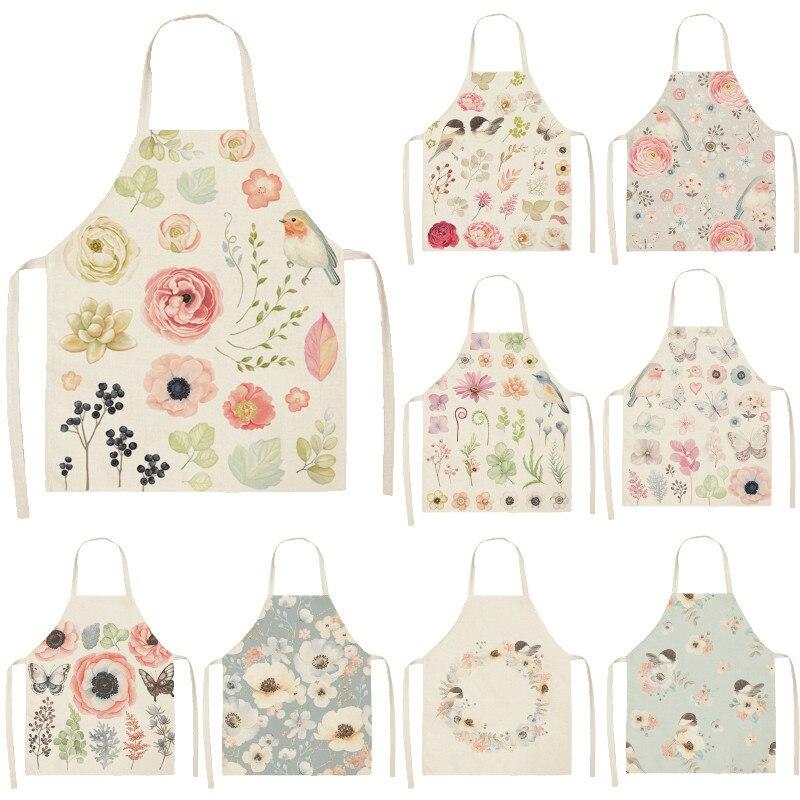 Bird Flower Printed Cotton Linen Brief Pinafore Kitchen Sleeveless Apron Women Home Cooking Baking Waist Bib 53*65cm WQL0146