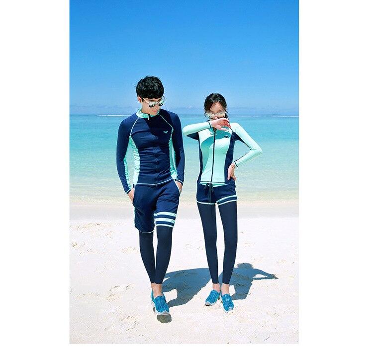 Casal rash guards terno de natação para