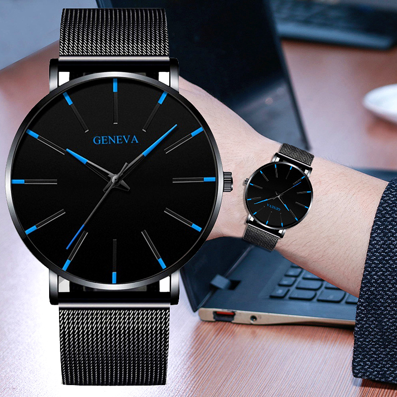 New Business Men's Watch Black Quartz Alloy Mesh Strap Ultra Thin Universal Male Casual Sports Wrist Watch Relojes Para Hombre