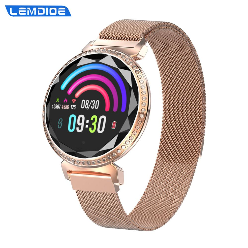 LEMDIOE 2019 luxury smart watch women waterproof  magnetizing steel strap fitness tracker for iphone ios android-in Smart Watches from Consumer Electronics