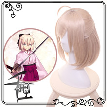 Okita Souji Wig Fate Grand Order Cosplay Wig Short Synthetic Women Hair Anime Fate Grand Order Cosplay Wigs Okita Souji cheap Headgear Movie TV Unisex Adult Accessories Cait Sith Bamboo Fiber Costumes