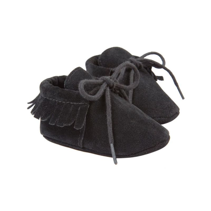 Baby Boy Girl Moccasins Soft Moccs Shoes Non-slip Footwear Crib Shoes PU Suede Leatherborn