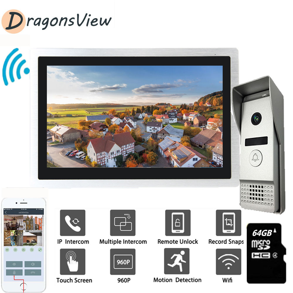 Dragonsview Video Intercom 10 Inch 960P IP Wifi Touch Screen Video Door Phone Doorbell With Motion Sensor For Home Office Villa