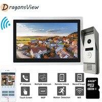 Dragonsview Video Intercom 10 Inch 960P IP Wifi Touch Screen Video Door Phone Doorbell with Motion Sensor for Home Office Villa