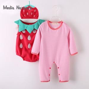 Image 1 - Traje de fresa para bebé niña, Pelele de manga larga + sombrero + chaleco, ropa de fotografía infantil para festival de halloween purim
