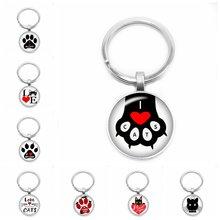 Новинка 2020 кольцо для ключей с мультяшным принтом love cat