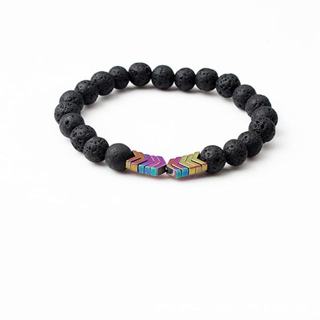 Pedra de lava natural strand pulseiras para mulheres masculino jogo hematite em forma de seta pena pulseira jóias coleção saúde presente
