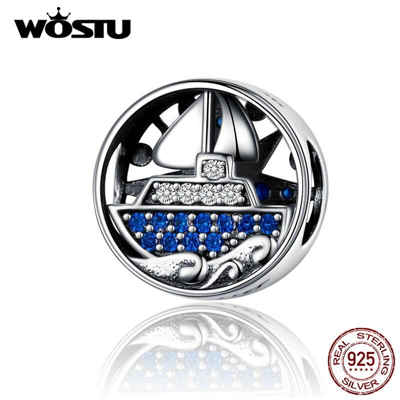 WOSTU Pleasure Boat Tours Beads 925 Sterling Silver European Style Charm Fit Original Bracelet Pendant Jewelry Making CQC1197