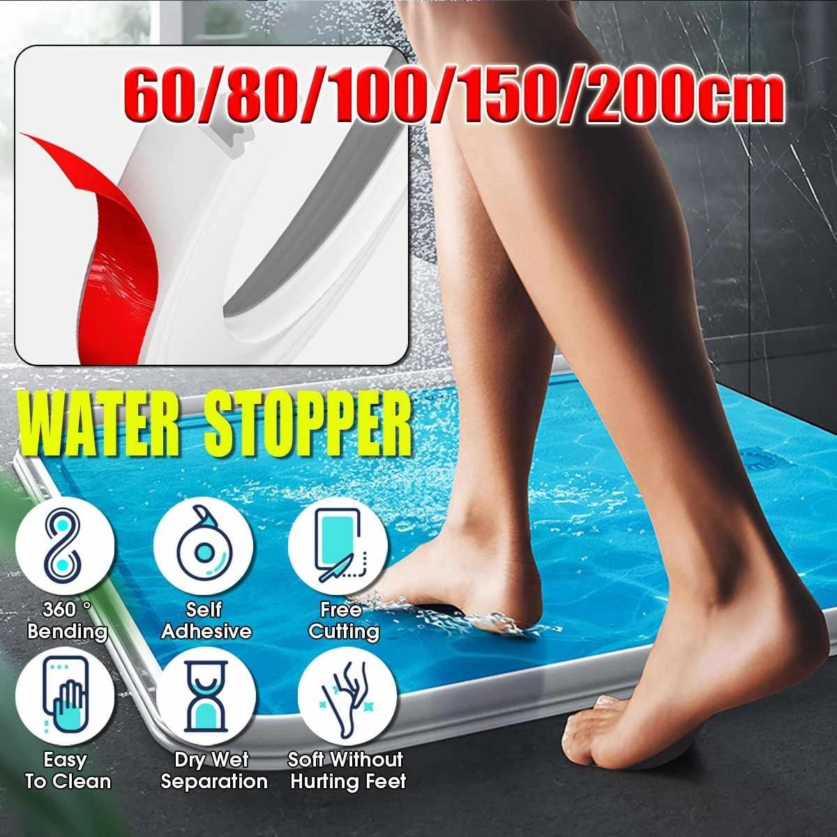 200CM Free Bending Threshold Bathroom Kitchen Water Stopper Dam Shower