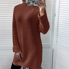 2019 Women Autumn Loose Dress O-neck Solid Knitted Sweater Dresses Pullover Female Knitted Dress Casual Loose Long Slim Jumper