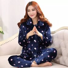 2019 Winter Thick Flannel Women Pajamas Sets Velvet Autumn Band Warm Sleepwear Female Pyjamas Homewear