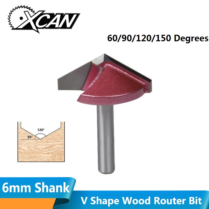 XCAN 1pc 6mm Shank 10/16/22/32mm V Slot Milling Cutter Tungsten Carbide CNC End Mill 3D Engraving Bir Fow Woodworking Router Bit-in Milling Cutter from Tools