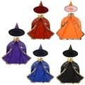 Детский костюм на Хэллоуин, накидка ведьмы, волшебника, накидка с острым носком, Набор Аниме, косплей, вечеринка, звезды, рисунок для девочек ...