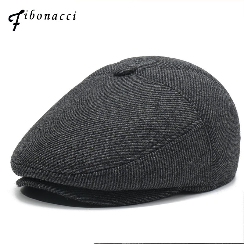 Fibonacci 2019 New Twill Wool Newsboy Caps For Men Middle Old Aged Beckham Nylon Flat Top Ivy French Beret Hats