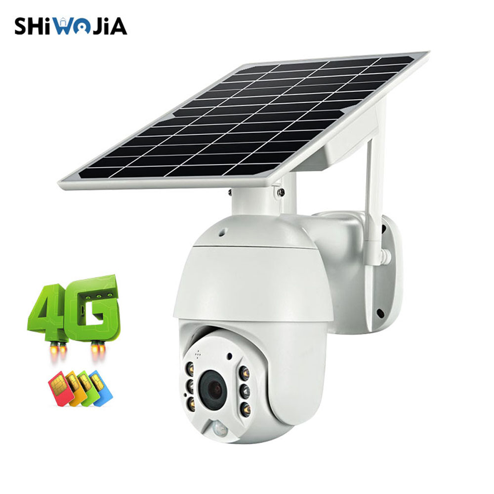 SHIWOJIA  4G WIFI Solar IP PTZ Cameras Starlight Full Color IR Vision P2P 4G Sim Card IR Vision Dome Camera Cloud Storage Camera