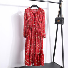 цены на New Autumn Korean Polka Dot Print Dress Women Party Elastic Waist V Neck Ruffles Long Sleeve Button Chiffon Dresses Female в интернет-магазинах