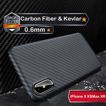 Custodia protettiva di lusso in vera fibra di carbonio 3D Kevlar 0.6mm sottile sottile per fotocamera sportiva custodia protettiva per iPhone X XS XR XSMAX